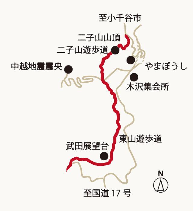 二子山・東山遊歩道の地図