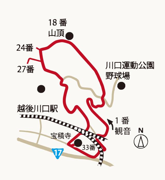 西国三十三番越後川口霊場の地図
