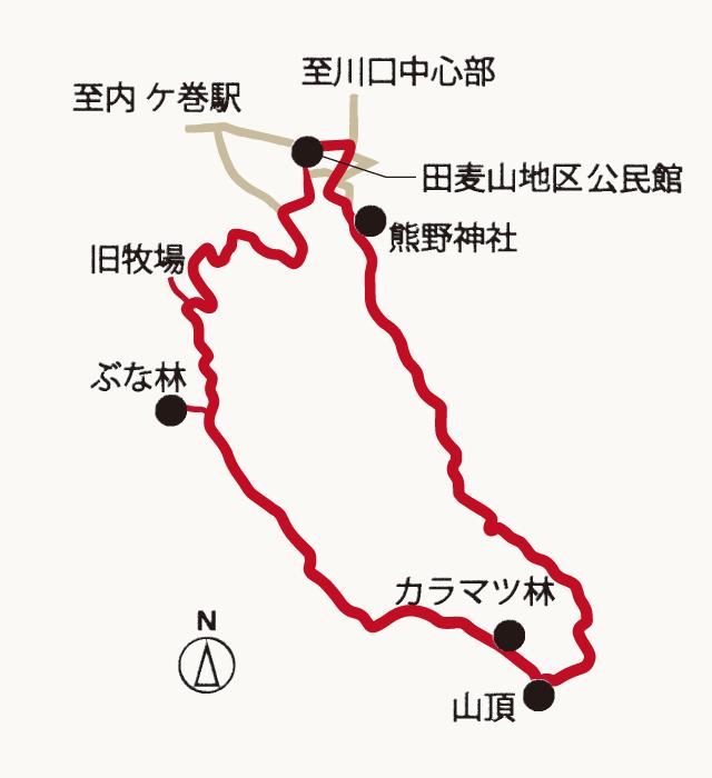田麦山遊歩道の地図